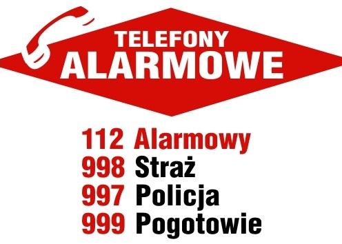 Znalezione obrazy dla zapytania telefony alarmowe